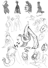 hand alien sketches